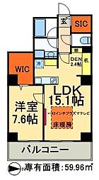 JR常磐線 南千住駅 徒歩5分の賃貸マンション 14階2LDKの間取り