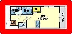 京阪本線 萱島駅 徒歩4分の賃貸マンション 4階ワンルームの間取り