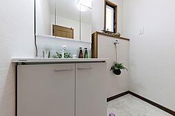 三面鏡の裏側は収納付き。散らかりがちな洗面もすっきりします。