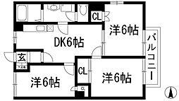 兵庫県川西市下加茂1丁目の賃貸マンションの間取り