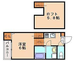 福岡県福岡市東区香住ケ丘3丁目の賃貸アパートの間取り