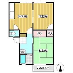 高山村アパート 1階2DKの間取り
