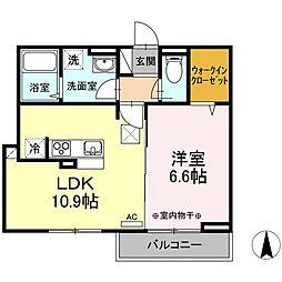 JR中央本線 国立駅 徒歩11分の賃貸アパート 1階1LDKの間取り
