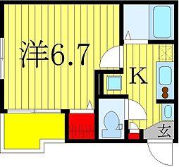 仮)柏市旭町新築計画 2階1Kの間取り