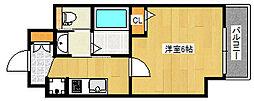 エステムコート神戸山手ステーションデュオ 6階1Kの間取り