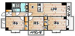 ニューリバー八幡[3階]の間取り
