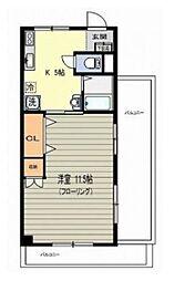 パインフラット 笹塚のルーフバルコニー付き広々1DK[3階]の間取り