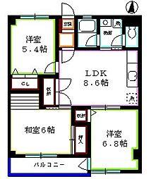 東京都西東京市ひばりが丘北1丁目の賃貸マンションの間取り