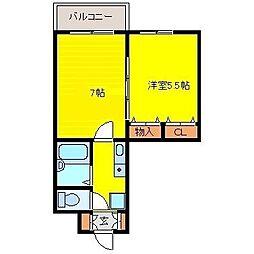 ホワイトキャッスルIV 3階2Kの間取り
