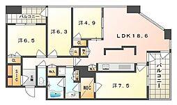 サンマークスだいにちジアスタワーレジデンス A棟 36階4LDKの間取り