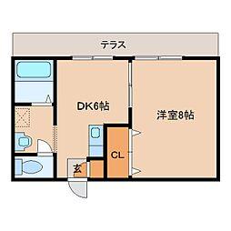 奈良県橿原市土橋町の賃貸アパートの間取り