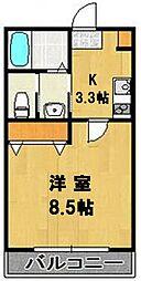 千葉県柏市大室の賃貸アパートの間取り