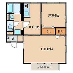 長野県東御市常田の賃貸アパートの間取り