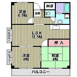 ジョイフル昭栄[4階]の間取り