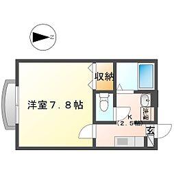 リラ夢見ヶ崎 1階1Kの間取り