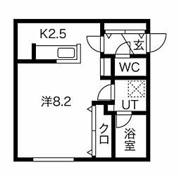 札幌市営南北線 澄川駅 徒歩5分の賃貸マンション 4階1Kの間取り