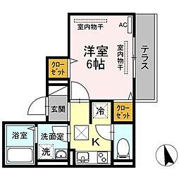 JR山陽本線 東福山駅 3.6kmの賃貸アパート 1階1Kの間取り
