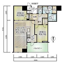 シティタワー大阪天満 29階2LDKの間取り