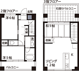 JR中央線 国立駅 徒歩3分の賃貸マンション 2階3LDKの間取り