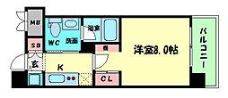Osaka Metro四つ橋線 四ツ橋駅 徒歩7分の賃貸マンション 9階1Kの間取り