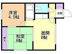 カネイマンション 3階2LDKの間取り