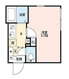京王線 代田橋駅 徒歩2分の賃貸マンション 1階1Kの間取り