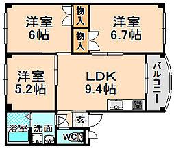 兵庫県伊丹市鴻池2丁目の賃貸マンションの間取り