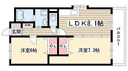 愛知県名古屋市守山区菱池町の賃貸アパートの間取り