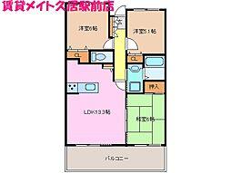 サンマンションポルタ久居 南館[9階]の間取り