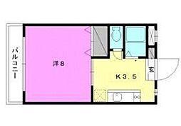 セレッソ赤坂 2階1Kの間取り