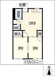 ファミール山本E・F棟[1階]の間取り
