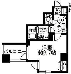 ラクラス日本橋浜町 4階1Kの間取り