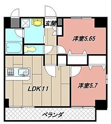福岡県北九州市八幡西区皇后崎町の賃貸マンションの間取り