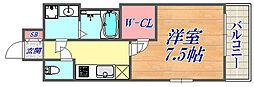 エスプレイス神戸プラージュ 4階1Kの間取り