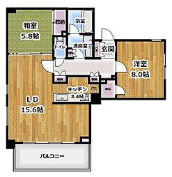 プライムアーバン新宿夏目坂タワーレジデンス 2階2LDKの間取り