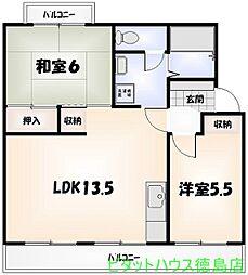 スカイハイツ新田[306号室]の間取り
