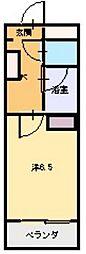 M Sコート紫雲 2階ワンルームの間取り