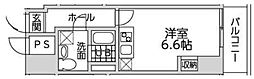 フルール御苑 6階1Kの間取り