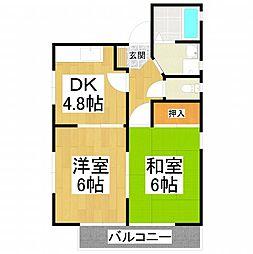 ファミール五月 2階2DKの間取り