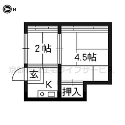 田中アパート[1−西号室]の間取り