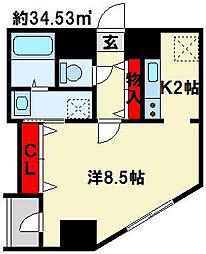 モナトリエ 4階1Kの間取り