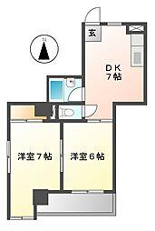 カーサ オクダCASA Okuda[2階]の間取り