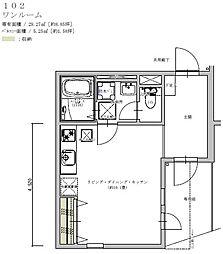 Ring Residence 茅ヶ崎 1階ワンルームの間取り