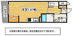 北九州都市モノレール小倉線 旦過駅 徒歩12分の賃貸マンション 7階ワンルームの間取り