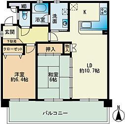 福岡県福岡市西区小戸1丁目の賃貸マンションの間取り