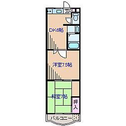 神奈川県横浜市港北区篠原北1丁目の賃貸マンションの間取り
