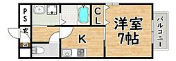 JR関西本線 平野駅 徒歩6分の賃貸マンション 1階1Kの間取り