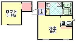 神奈川県横浜市金沢区六浦4丁目の賃貸アパートの間取り