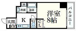エクセル姫路 4階1Kの間取り