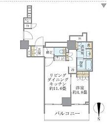 東京メトロ千代田線 湯島駅 徒歩4分の賃貸マンション 31階1LDKの間取り